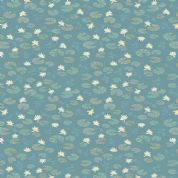 Lewis & Irene Down By The River - 5326 - Lilly Pads Floral on Teal - A223.2 - Cotton Fabric